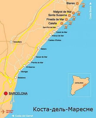 Отдых с детьми в Испании - карта курортов