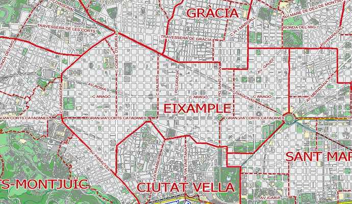 районы барселоны на карте